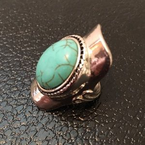 Turquoise stone statement ring